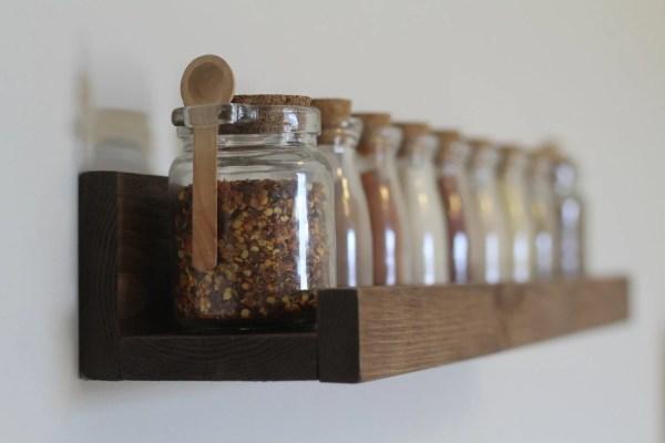 Rustic Wooden Spice Rack Ledge Shelf
