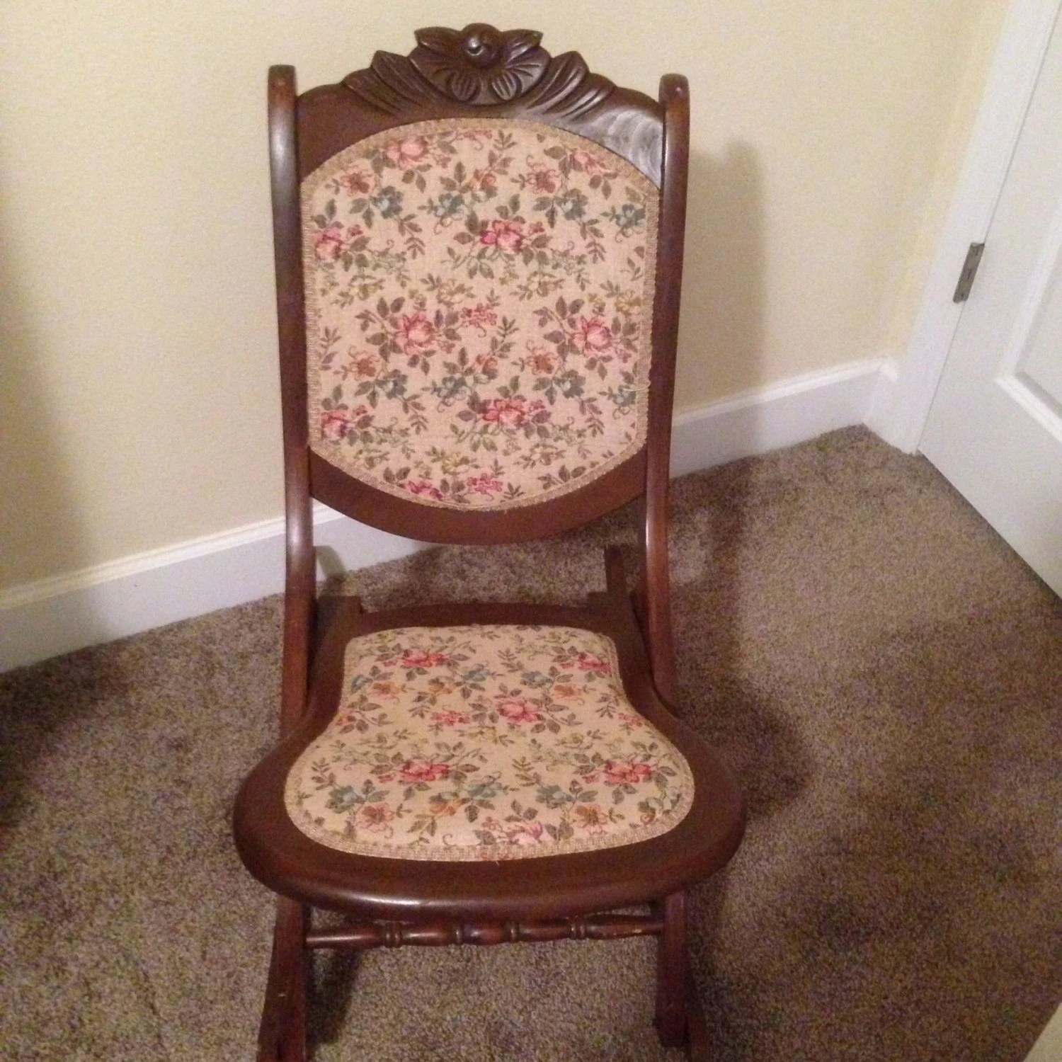 old fold up rocking chair gaming racing reviews antique folding solid wood and tapestry