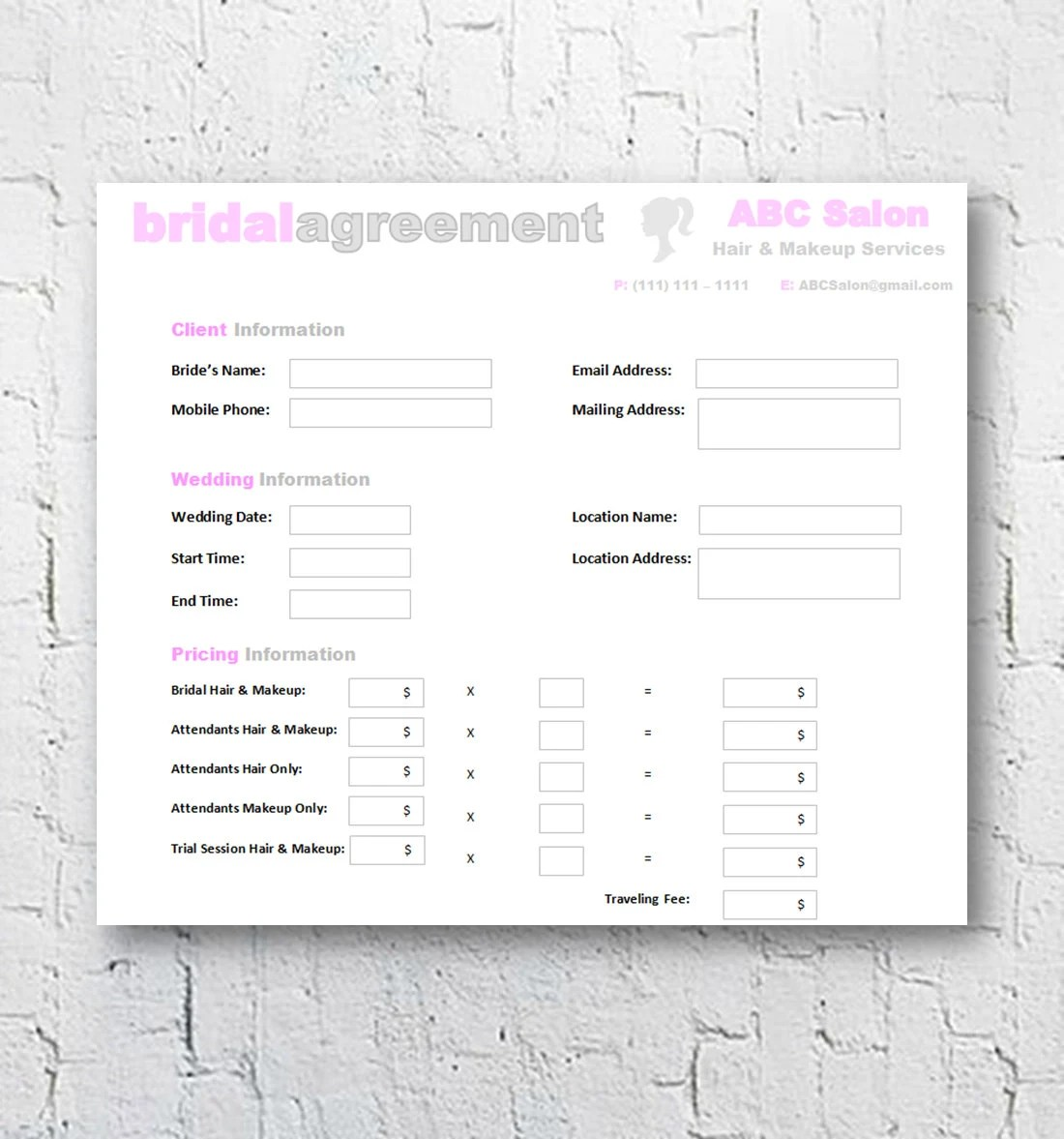 Hair Stylist Amp Makeup Artist Bridal Agreement Contract