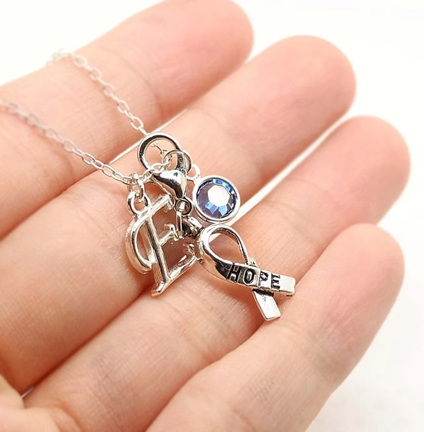 Breast Cancer Necklace Pink Ribbon Charm Initial