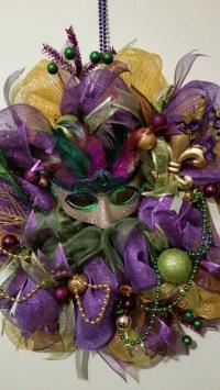 Mardi Gras Deco Mesh Wreath mesh wreath Mardi by VineandWhimsy