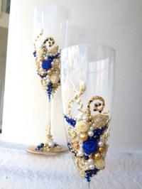 Hand decorated wedding champagne glasses elegant toasting