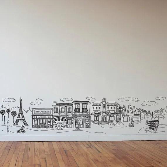 Impressive Doodle Paris Wall Decal Art by DanaDecals