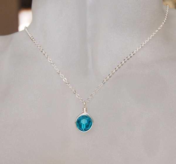 Blue Zircon Necklace December Birthstone