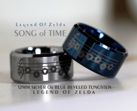12MM Silver Tungsten Ring Legend of Zelda Song Of Time Design