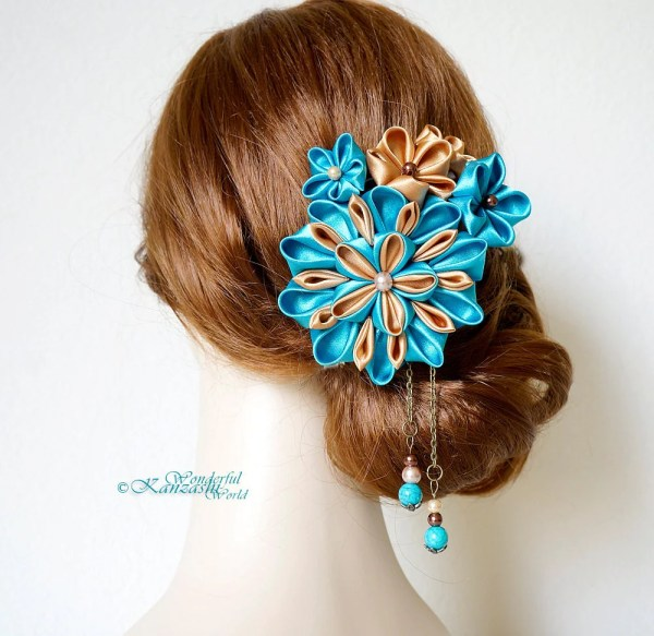Teal Flower Hair Accessories