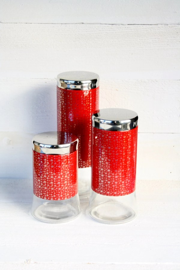 Vintage Red & Silver Snowflake Glass Canisters Set Of Three