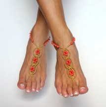 Barefoot Sandals Foot Jewelry and Coral