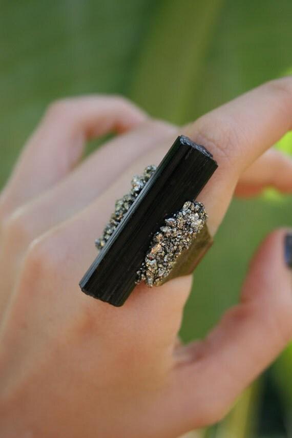 Black Tourmaline & Pyrite Ring
