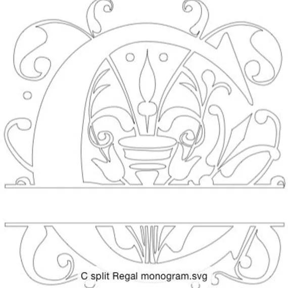 Split Regal Monogram letter C only in SVG format by
