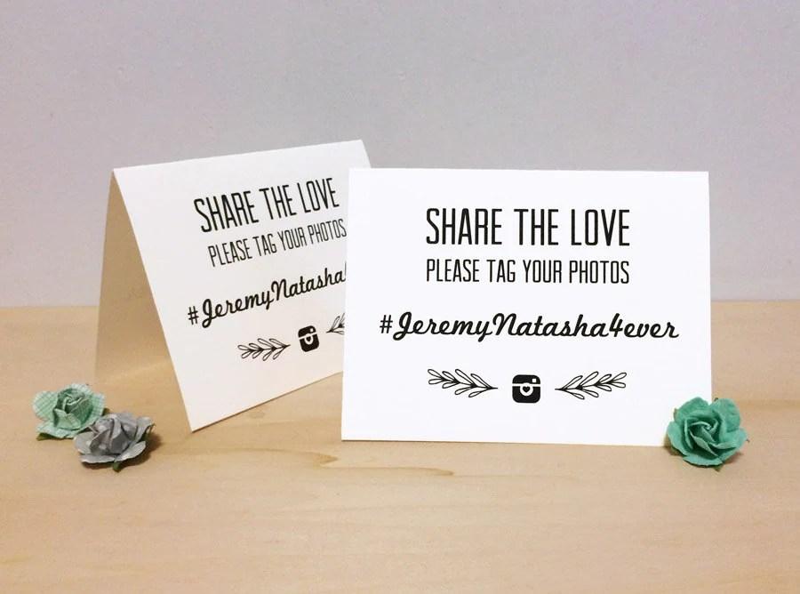 Instagram Wedding Hashtag Tent Card Custom Printable