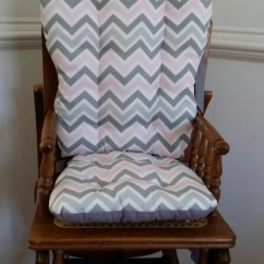 Wooden Rocking Chair Cushion Set Real Electric Execution Pink & Gray Chevron High Cushions Pads
