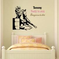 Horse decal barrel racer wall sticker girls bedroom name
