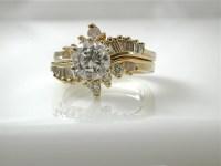 Ring Cubic Zirconia Wedding Set Beautiful Asymmetrical Gold
