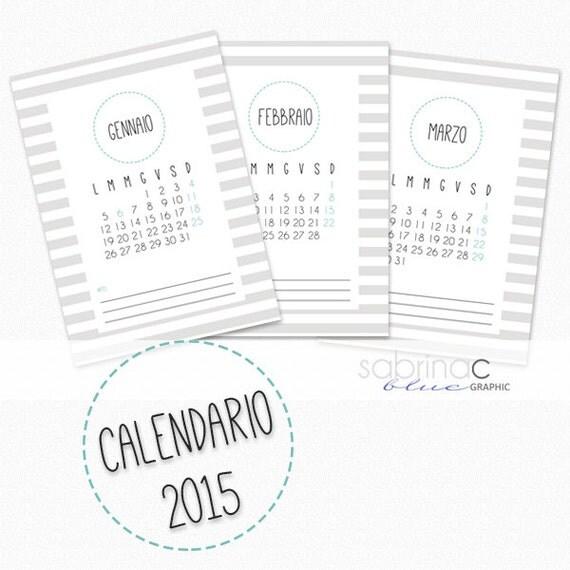 INSTANT DOWNLOAD-Printable Calendar ENGLISH by