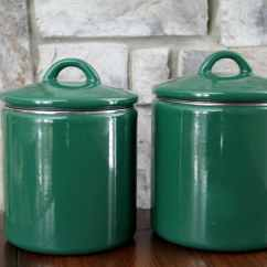 Kitchen Storage Canisters Costco Faucets Enamel Green Canister By