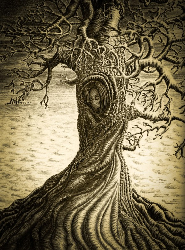 Wuthering Heights Print Pencil Drawing Sepia Art Woman Signed Tree