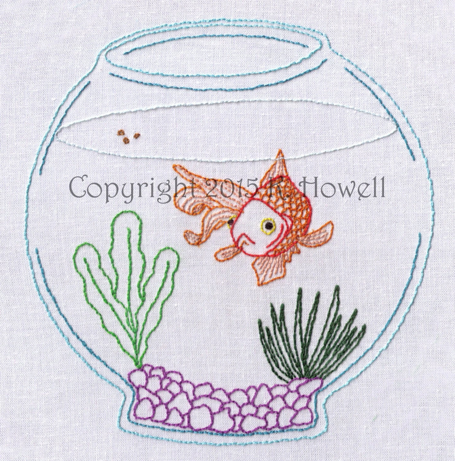 Fish Hand Embroidery Pattern Fish In A Fishbowl Pet