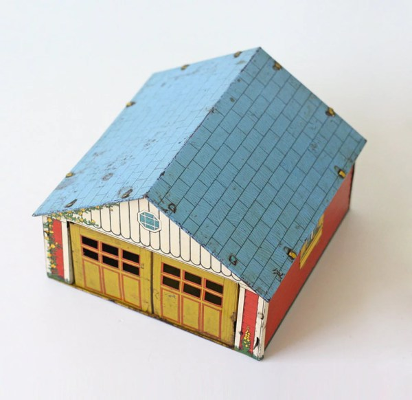 Vintage Metal Garage Litho Toy Dollhouse Garage