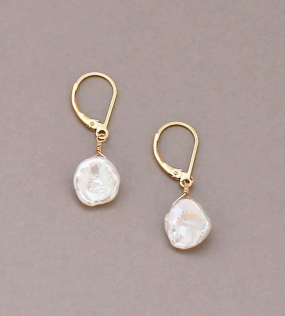 Keshi Pearl Earrings Leverback Gold Filled by