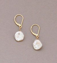 Keshi Pearl Earrings Leverback Gold Filled by ...