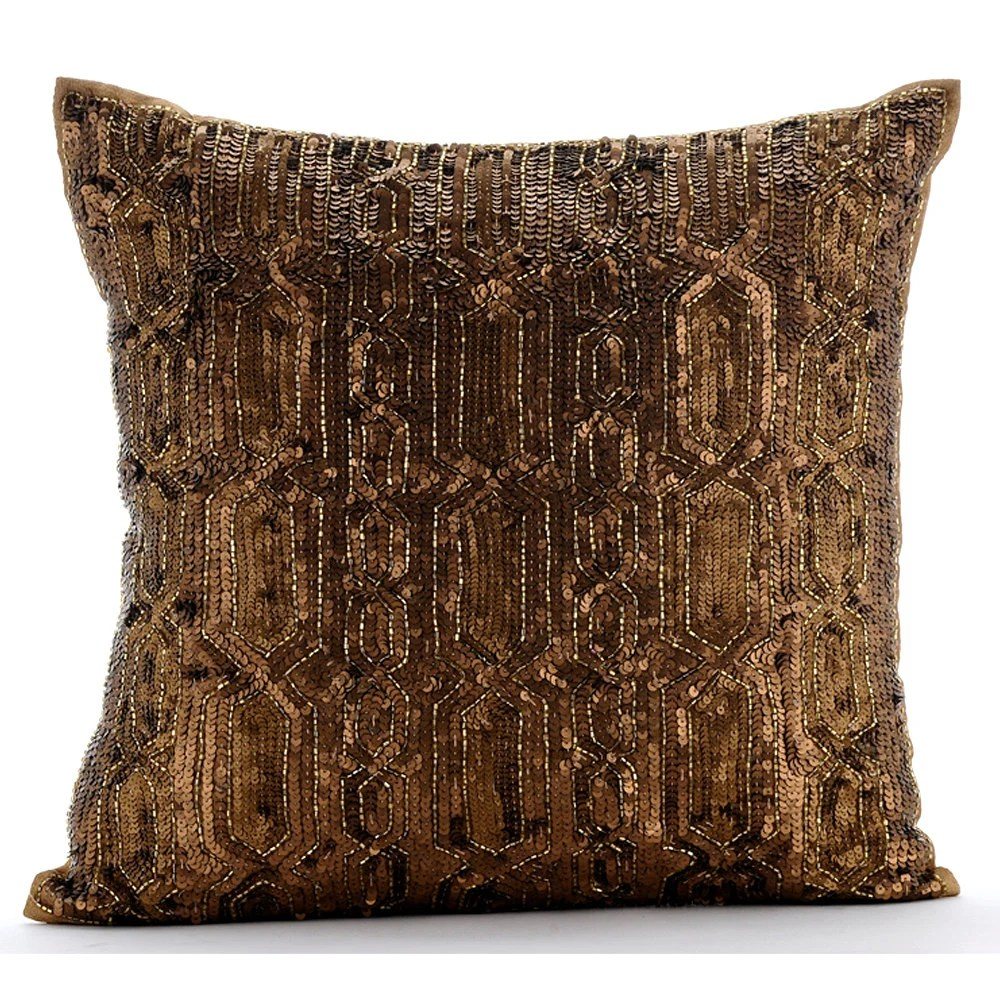 Gold Decorative Pillow Cover 16x16 Silk Pillows