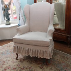 Slipcovers For Wingback Chairs With T Cushion Doll High Wooden Slipcovered Chair French Linen Ruffle Shabby Chic