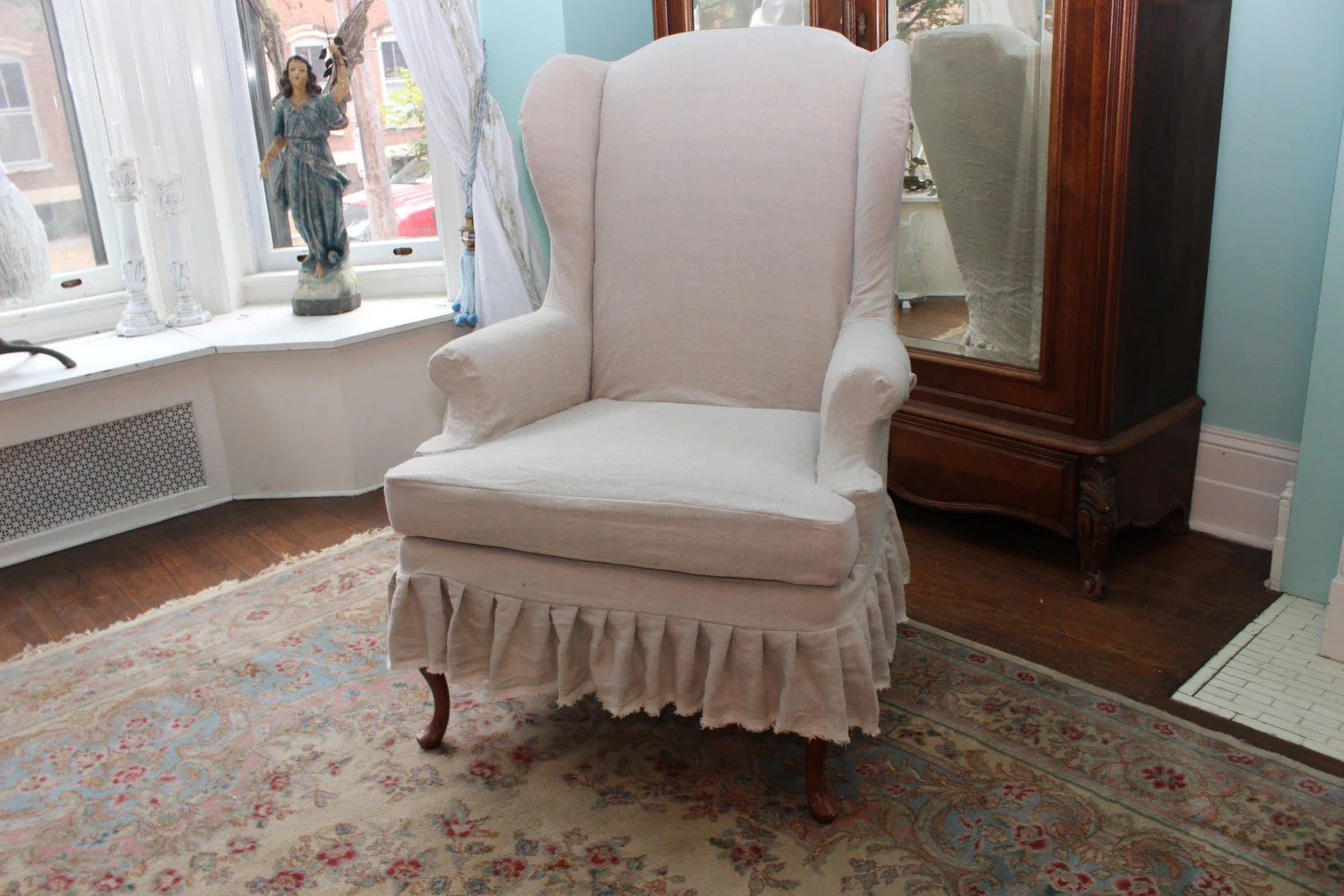 chic chair covers birmingham green upholstered dining chairs slipcovered wingback french linen ruffle shabby