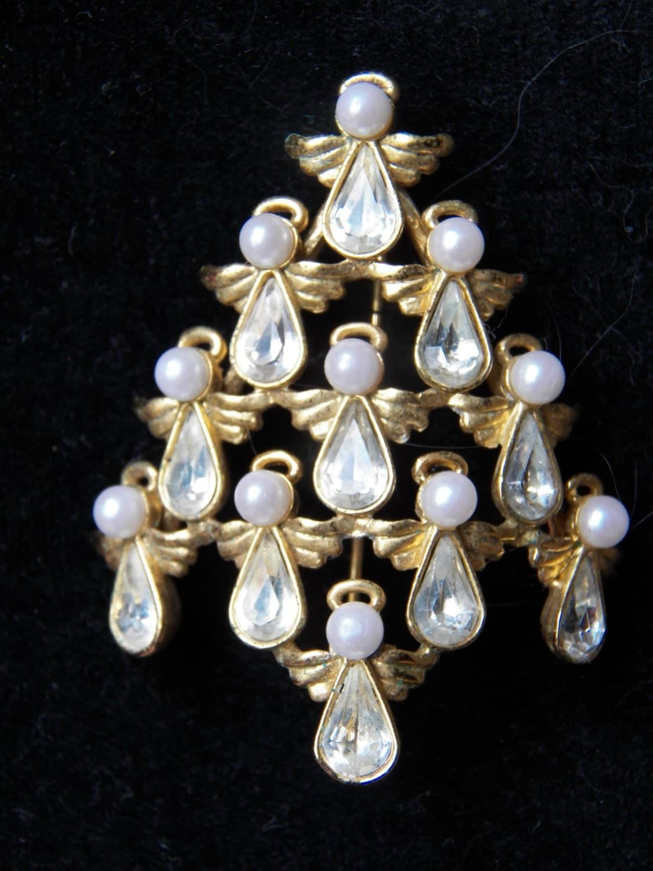 Vintage Angel Christmas Tree Brooch Pin Rhinestone Signed BW