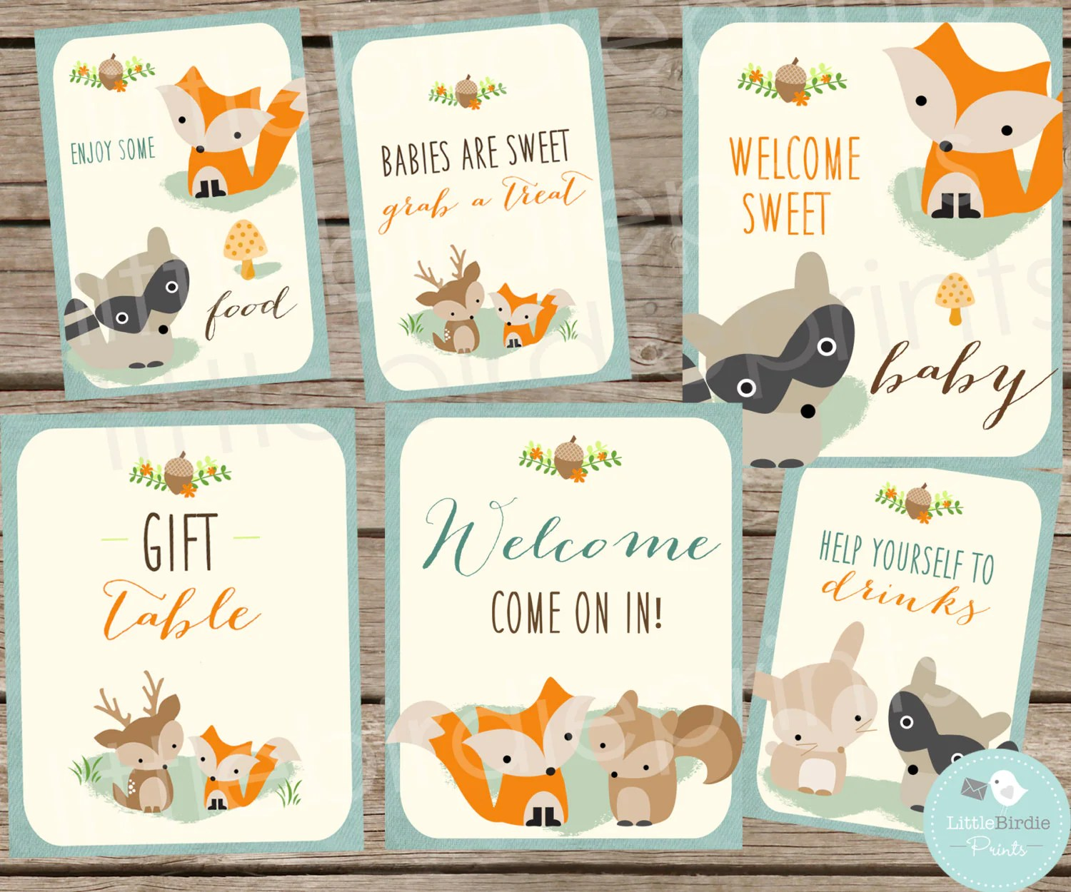 Woodland Baby Shower Decorations Signs Woodland Baby Shower