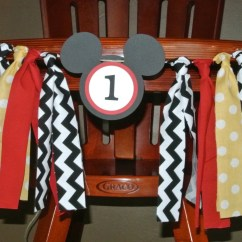 Mickey Mouse High Chair Decorations Cover Hire Runcorn Birthday Banner Party Rag Tie