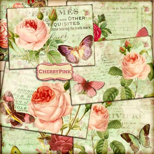 Rose Collage Sheet 8 Ephemera Design Butterfly