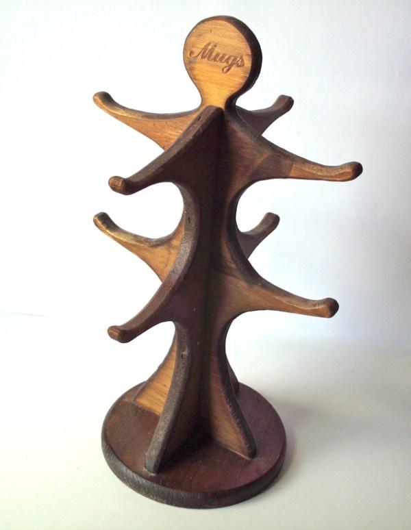 Vintage Coffee Mug Tree Wooden Knock on Wood Corp