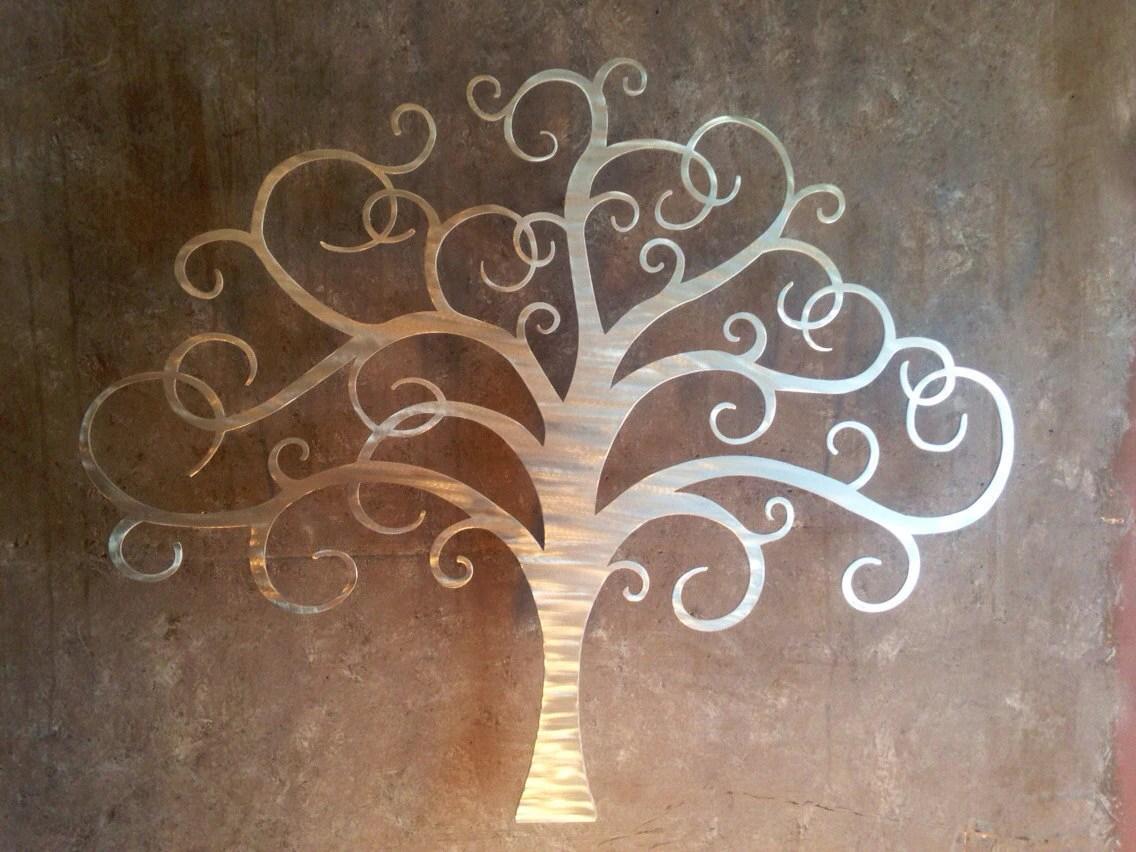 Tree Metal Wall Art Silver Wall Decor Tree Art Metal