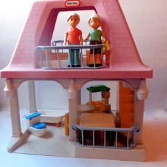 Little Tikes Doll High Chair Rocking Runners Dollhouse Grandparents House Pink Roof Blue Rails