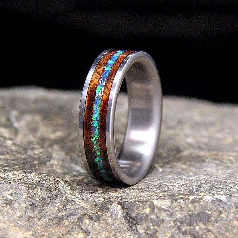 Curly Koa Pacific Blue Lab Opal Inlay Titanium Wedding Band Or