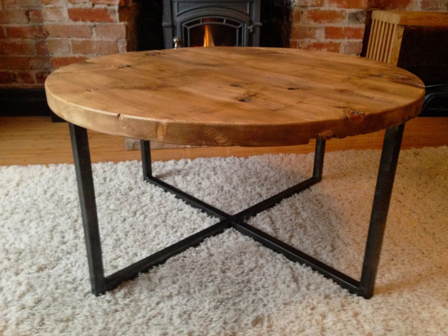 Reclaimed Barn Wood Round Coffee Table With Metal Base