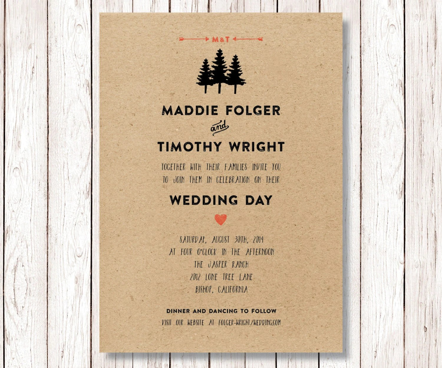 Yosemite Wedding Invitations: Rustic Wedding Invitation, Pine Tree Wedding, Hand Drawn