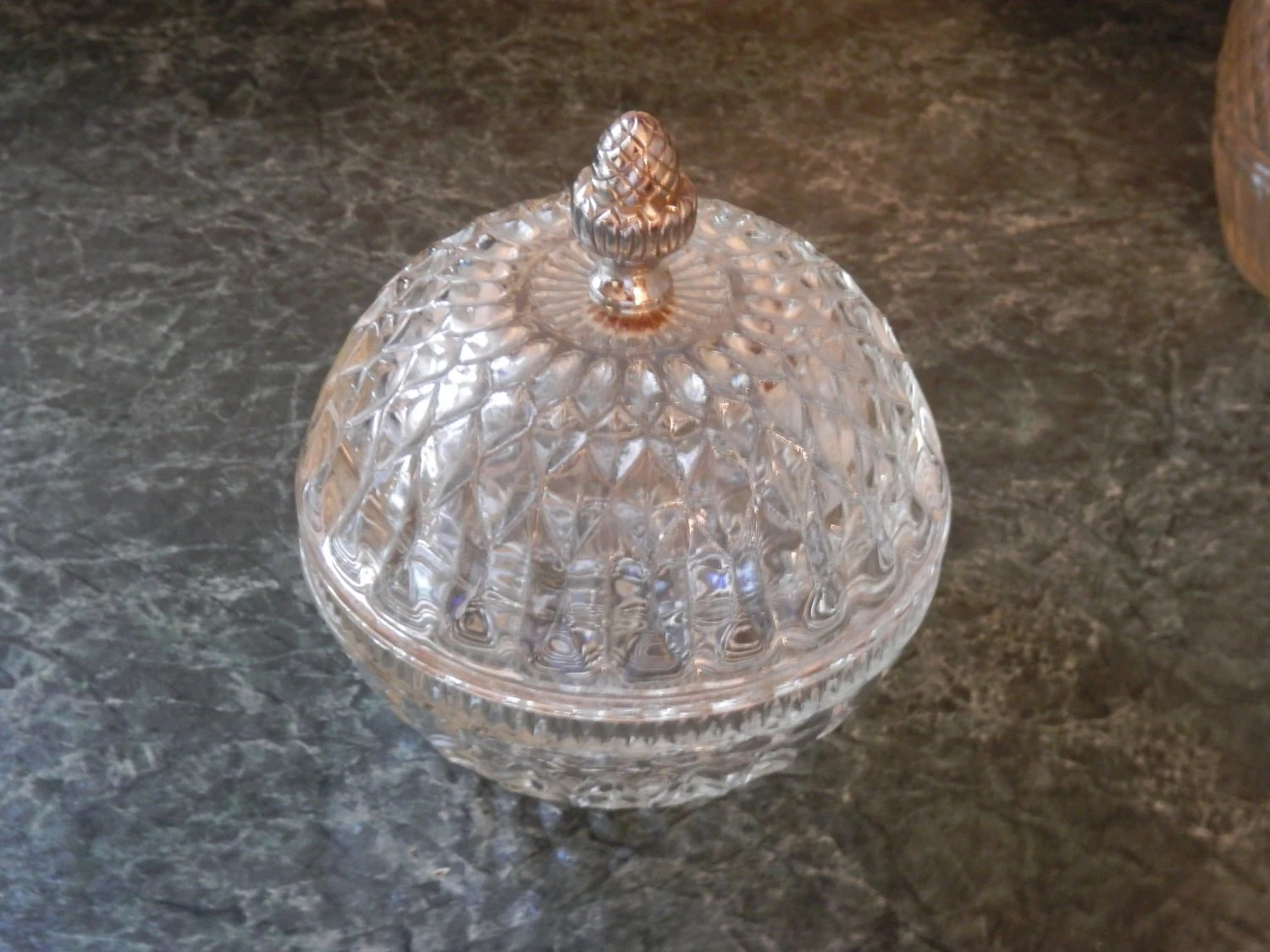 Vintage Oval Lidded Diamond Cut Clear Glass Candy Dish