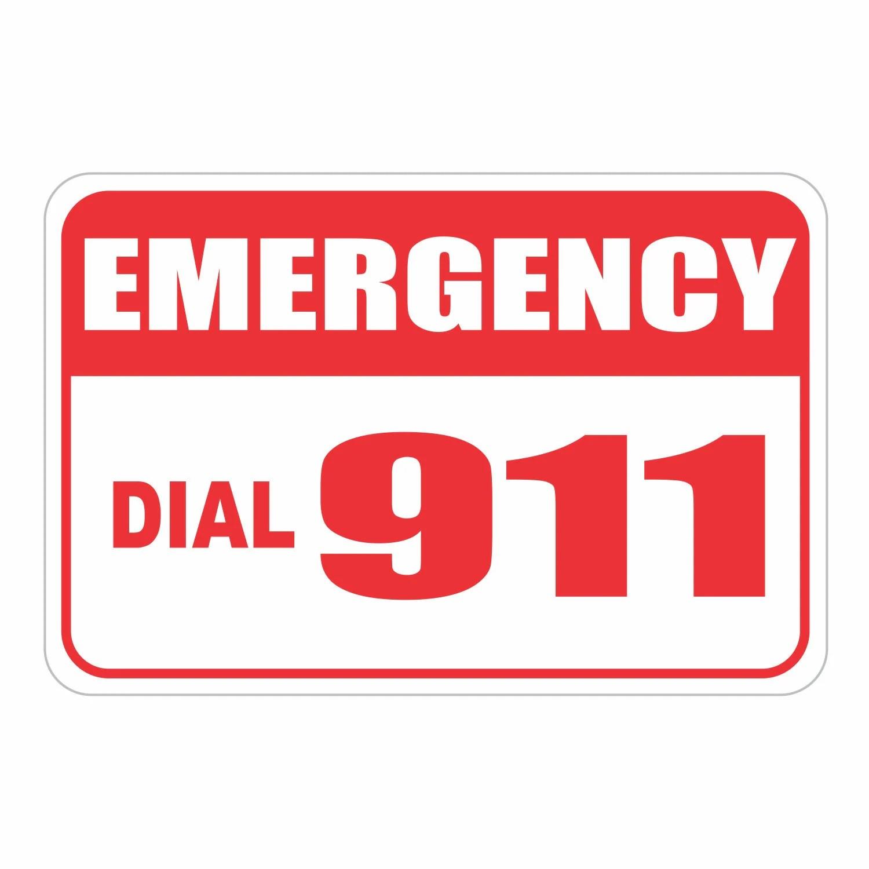 Emergency Call 911 Aluminum Sign Heavy Gauge No Rust 18