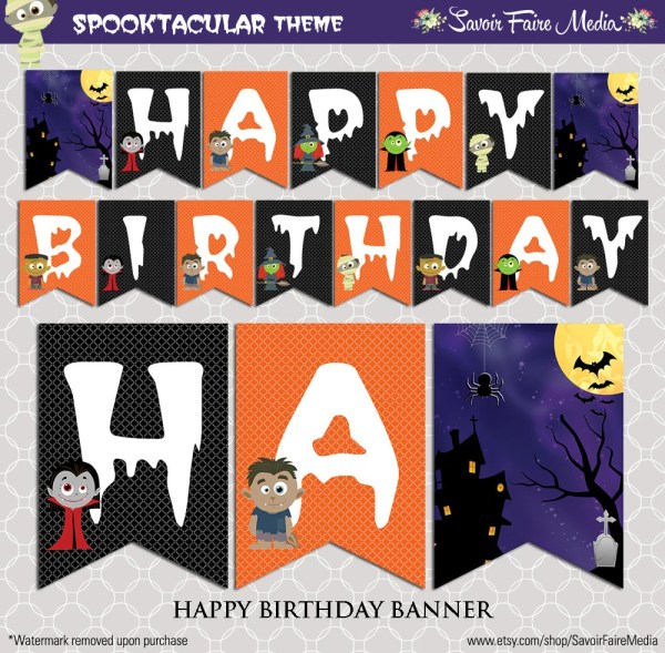 Instant Download Halloween Birthday Party Pennant by