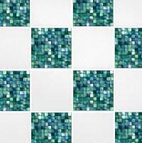 Green Blue Mosaic Tile Transfers 6 x 6 Printed