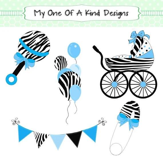 clip art blue zebra baby shower