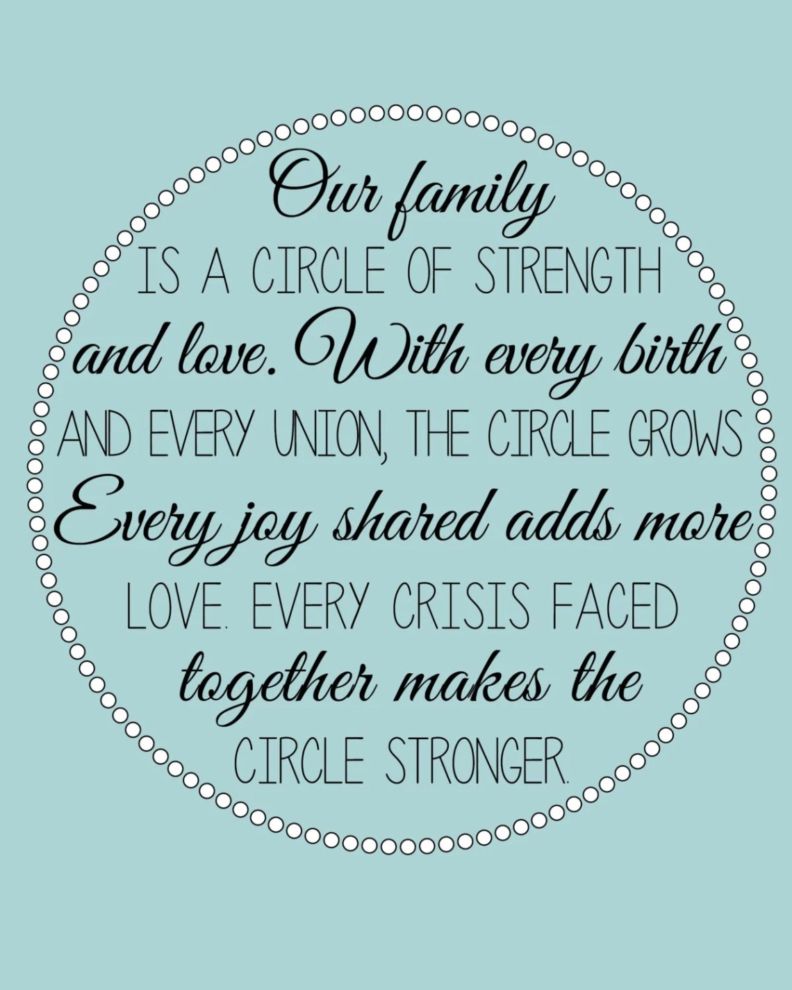 Download Our Family is a Circle of Strength and Love by ArdentPrint ...