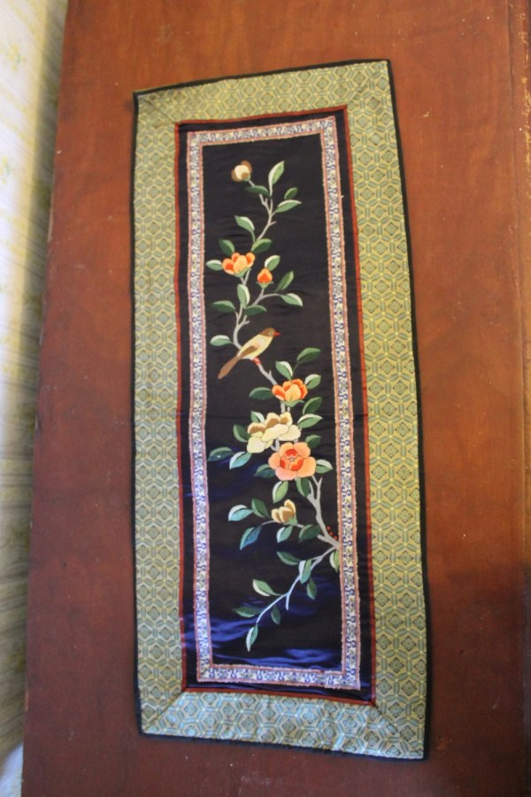 Vintage Chinese Silk Embroidered Table Runner With Bird