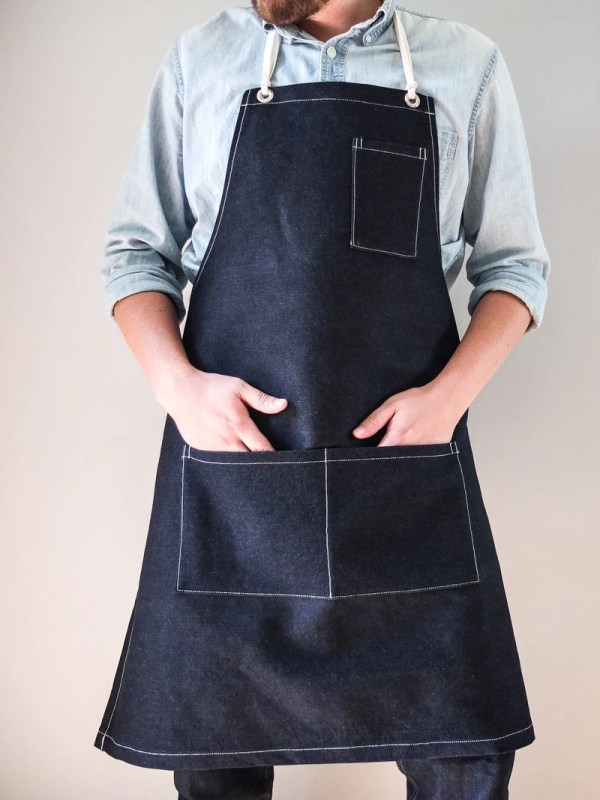 Mens Work Apron Dark Indigo Denim