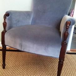 Grey Velvet Slipper Chair Folding Design Vintage Side