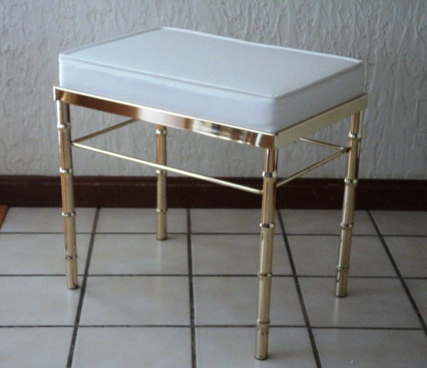 Reserved. Faux Bamboo Brass Vanity Stool
