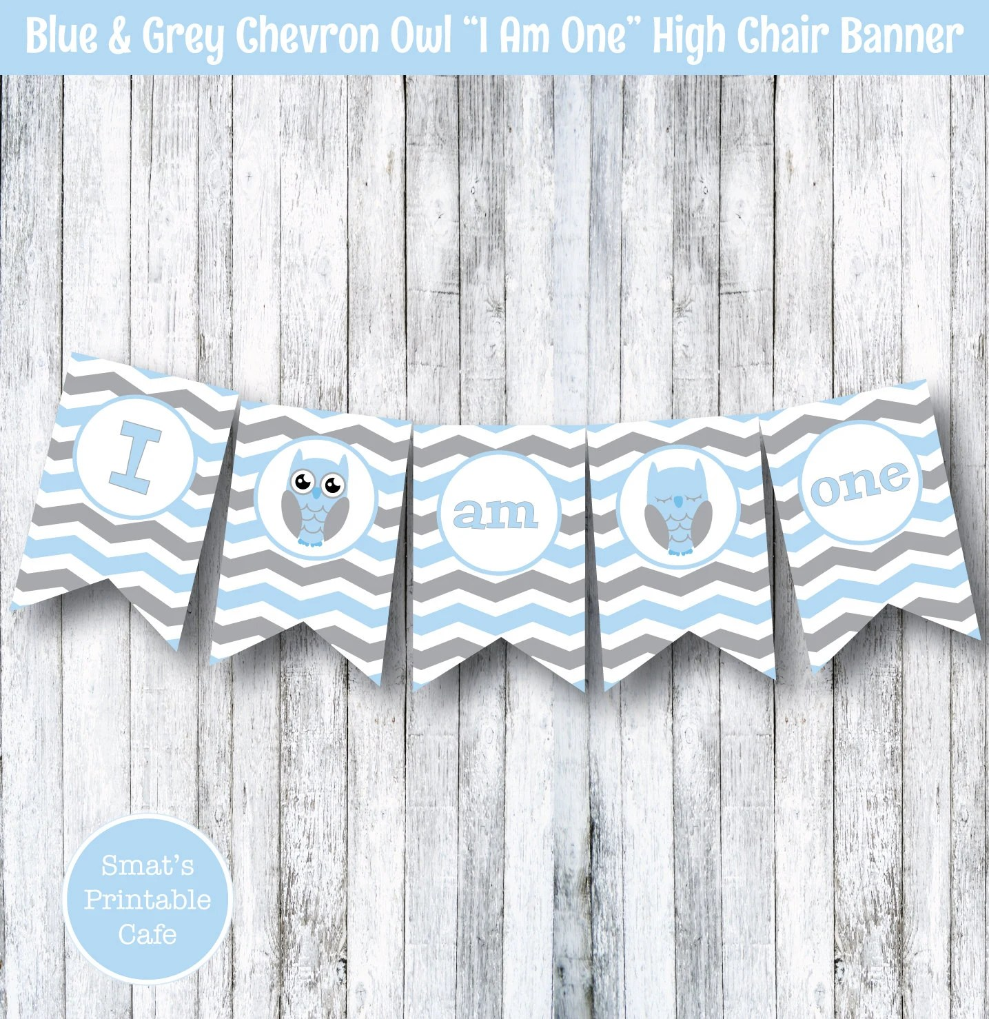 Owl High Chair Blue And Grey Chevron Owl I Am One High Chair Banner Decoration