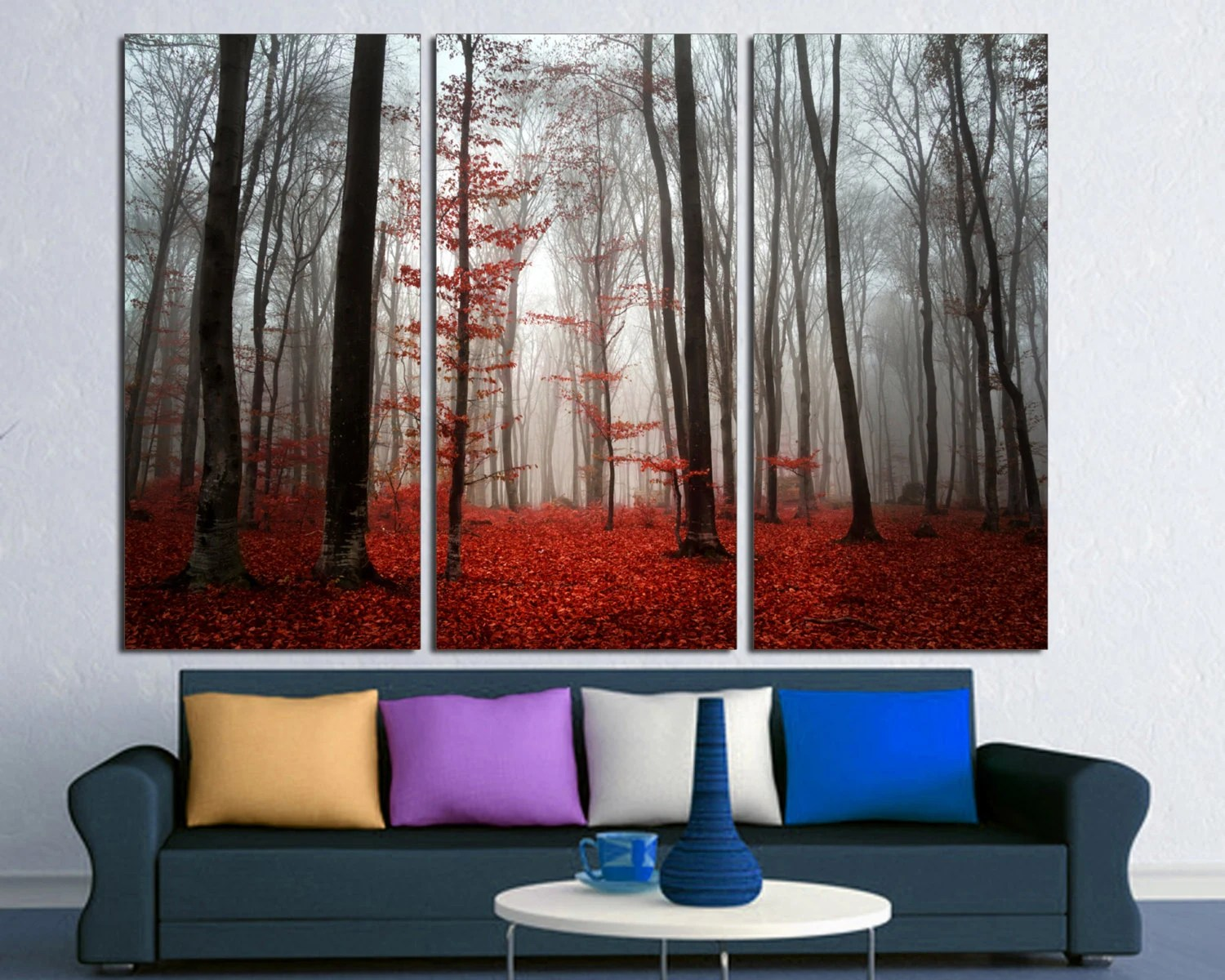 Red Leaves Forest Trees Mist 3 Panel Split Triptych Canvas